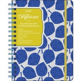 Posh: Deluxe Organizer 17-Month 2021-2022 Monthly/Weekly Planner Calendar (Blue Leaves)