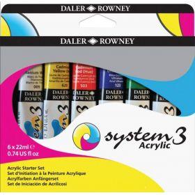 Daler-Rowney: System 3 Acrylic Starter Set, 6 x 22ml Paint Tubes