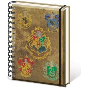 Harry Potter A5 Wiro Notebook, Hogwarts Crest & Four Houses