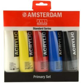 Amsterdam: Standard Series Acrylic Color, 120ml Tubes, Set of 5 Primary Colors