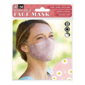 Daisy on Pink: ONS Washable Face Mask (Medium)