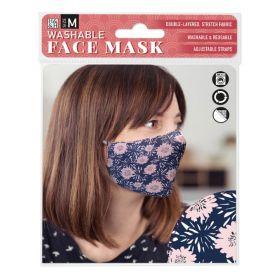 Pink Flowers on Blue: ONS Washable Face Mask (Medium)