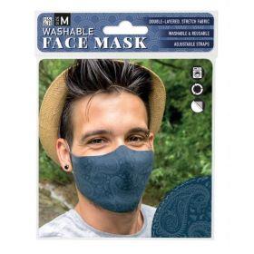 Dark Blue Paisley: ONS Washable Face Mask (Medium)