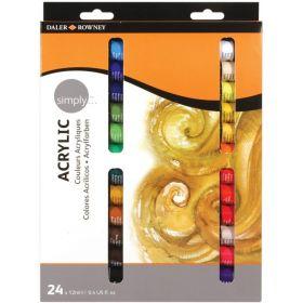 Daler Rowney Simply Acrylic Paints 24 x 12ml Set