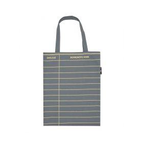 Out of Print: Library Card Tote Bag (Gunship Gray)