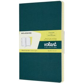 Moleskine Volant Journal, Large Ruled, Pine Green/Lemon Yellow