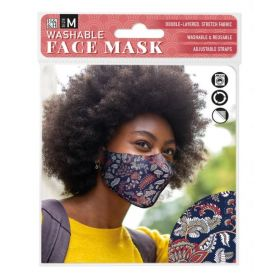 Dark Paisley Floral: ONS Washable Face Mask (Medium)