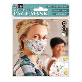 Narcissus Daisy on White: ONS Washable Face Mask (Medium)