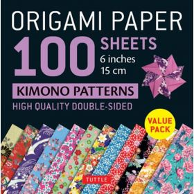 "Origami Paper 100 sheets Kimono Patterns 6"": High-Quality Double-Sided Origami Sheets Printed with 12 Different Patterns (Loose Leaf)"