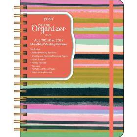 Posh: Deluxe Organizer 17-Month 2021-2022 Monthly/Weekly Planner Calendar (Brushstroke Stripe)
