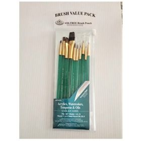 Royal Brushes with Brush Pouch & Artist Brush Guide (10 Pack)