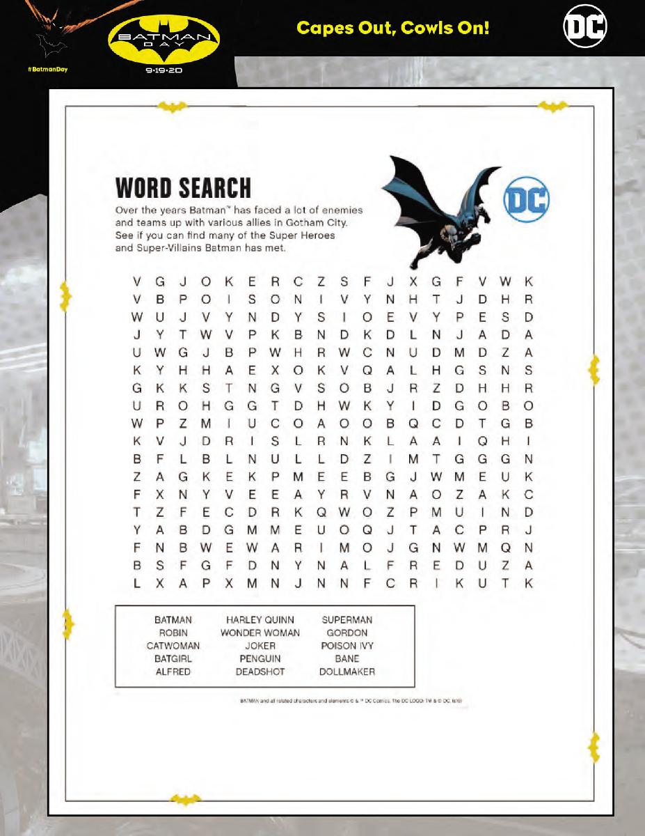 Batman Day - Word Search